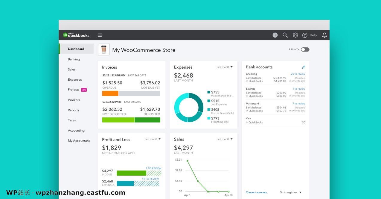 Quickbooks仪表板显示WooCommerce商店的指标