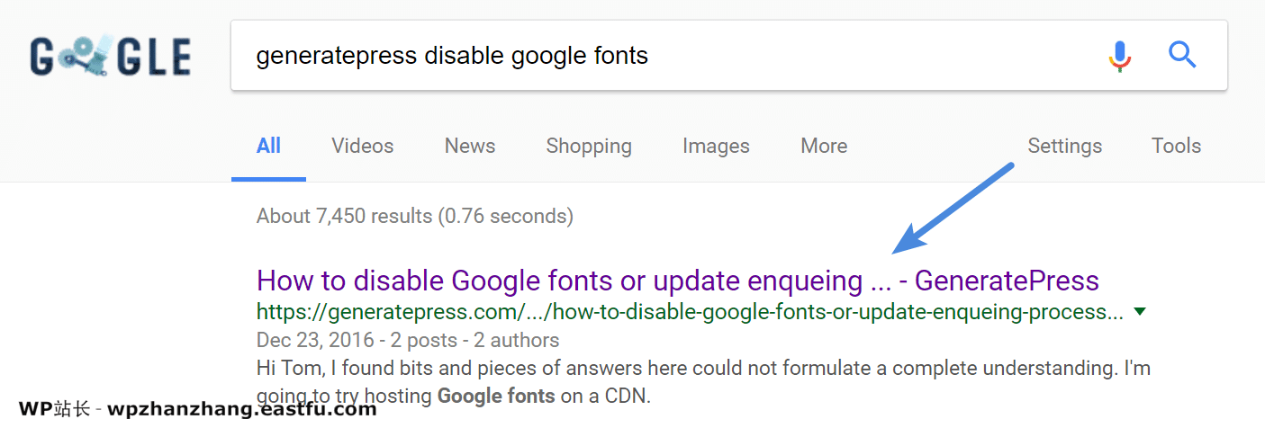 GeneratePress禁用Google字体