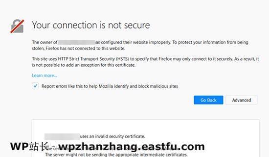 Firefox中的连接不安全错误