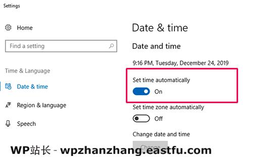 日期和时间设置已打开以自动同步