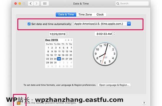 在Mac中同步日期和时间以及设置