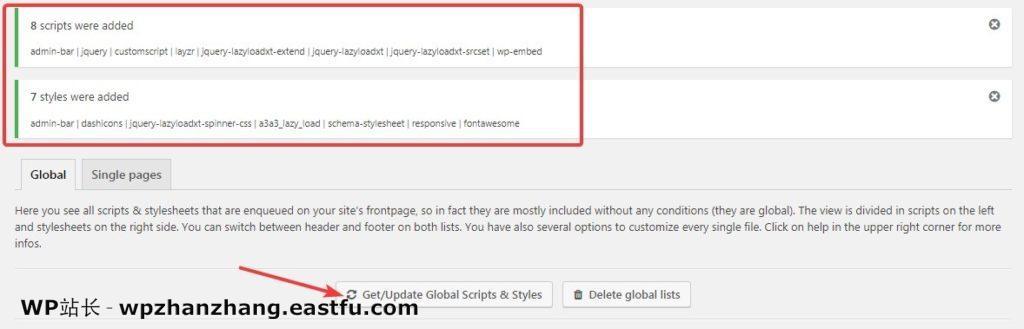 """按""""获取/更新全局脚本/样式""""按钮以获取所有排队脚本的列表。"""