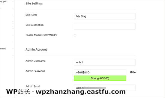 Softaculous WordPress 网站设置