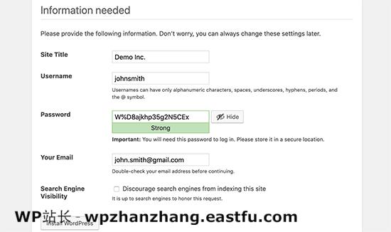 在 WordPress 安装期间设置您的网站