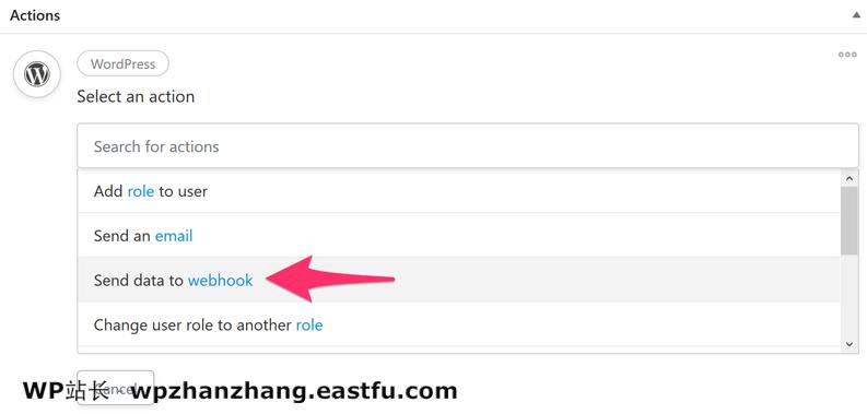 已选择 WordPress 网络钩子
