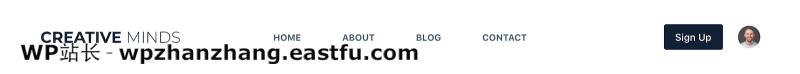 带有帐户图标的免费 Blocksy 主题标题示例
