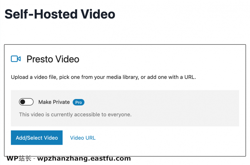 WordPress Presto 播放器设置自托管视频选项