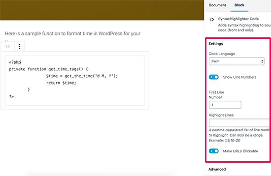 语法高亮显示代码块设置