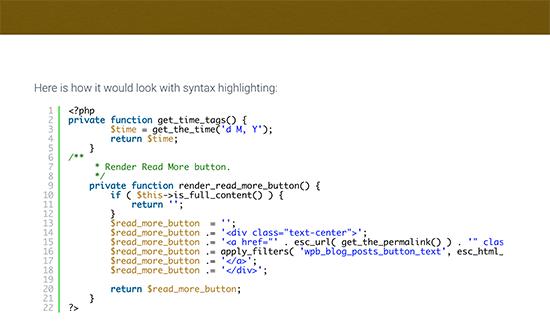 显示语法高亮显示的代码